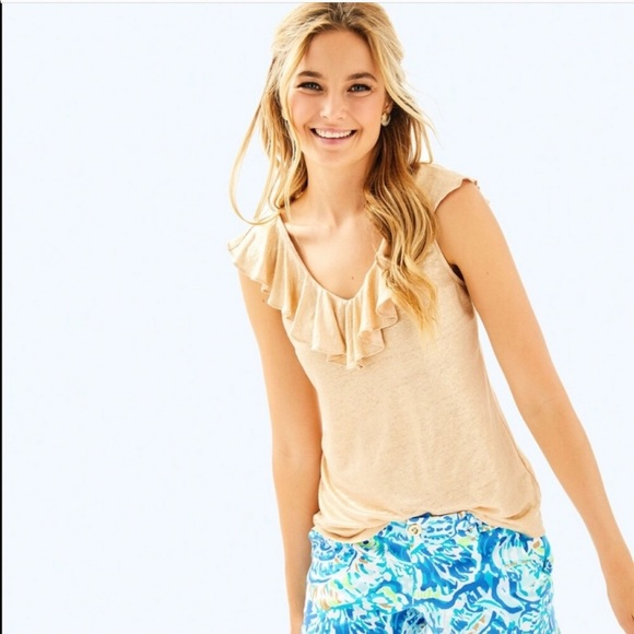 Lilly Pulitzer Tops - Lilly Pulitzer Linen Alessa Tank in Sand Dune M